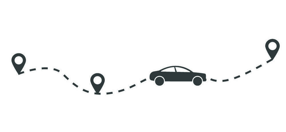 vector graphic of car moving along a map