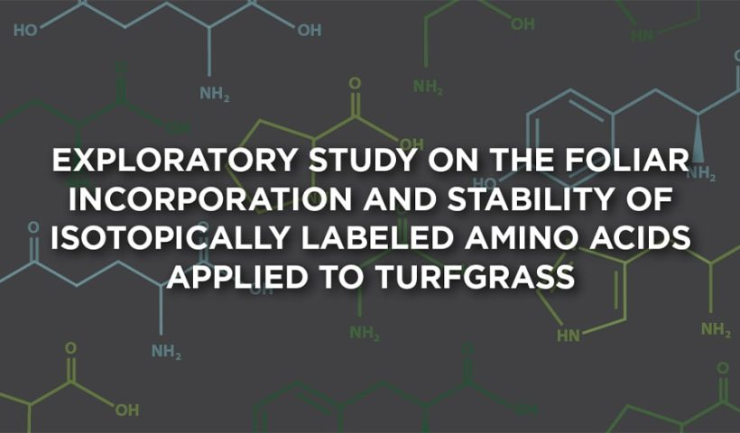 "chemistry background with text overlay ""New Study Finds Amino Acids Externally Applied to Turfgrass Foliage Are Rapidly Absorbed and Remain Stable for Plant Metabolism"""